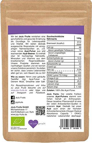 Acai Pulver Bio (100g) - JoJu Fruits - (Vegan, Glutenfrei, Laktosefrei) Superfood aus Bio Acai Beeren - 2