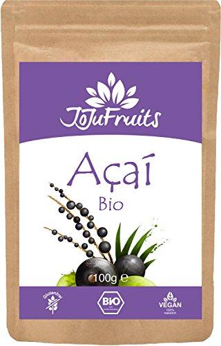 Acai Pulver Bio (100g) - JoJu Fruits - (Vegan, Glutenfrei, Laktosefrei) Superfood aus Bio Acai Beeren - 1