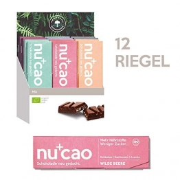 nucao Veganer Bio Superfood Riegel – Mixed Box – Nährstoffreiche Vegane Schokolade mit knackigen Hanfsamen & kräftigem Roh-Kakao [12er Pack   Paleo Bar   Rohkost-Riegel   Low Sugar   Plastikfrei] - 1