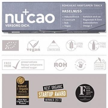 nucao Veganer Bio Superfood Riegel – Mixed Box – Nährstoffreiche Vegane Schokolade mit knackigen Hanfsamen & kräftigem Roh-Kakao [12er Pack | Paleo Bar | Rohkost-Riegel | Low Sugar | Plastikfrei] - 6