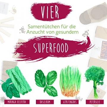 SATTE SAAT Superfood Anzuchtset mit Moringa, gesunden Kräutern und Gemüse - ökologisches Pflanzset inkl. Töpfe, Anzucht-Erde, Holz-Sticks, Samen und Anleitung - zeitloses Urban Gardening Geschenk - 7